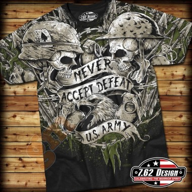 T-Shirt Army Never Accept Defeat Nera tg.M