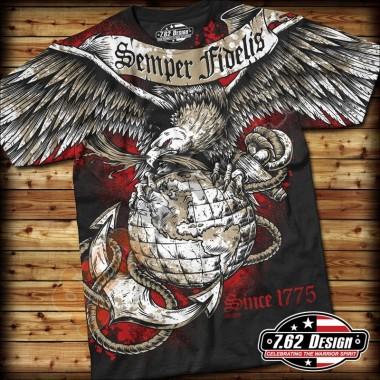 T-Shirt USMC Semper Fidelis Nera tg.XL