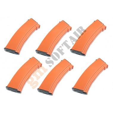 Set da 6 Caricatori Maggiorati per AK74 da 500bb Orange