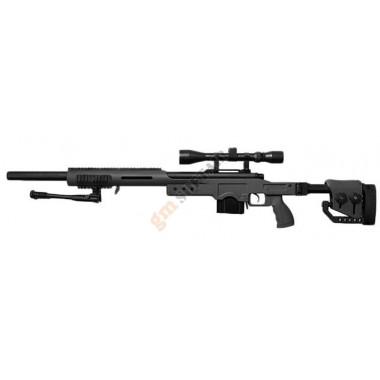 MB4410D Sniper Rifle con Ottica e Bipiede Nero