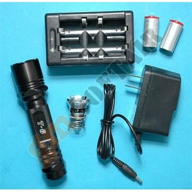 Torcia T6 + Kit caricabatteria + Batterie Ricaricabili