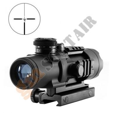 4X32 Tactical Compact Scope con Reticolo Illuminato Nera